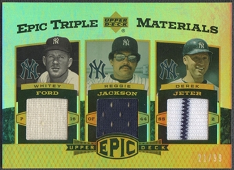 2006 Upper Deck Epic #FJJ Whitey Ford, Reggie Jackson, & Derek Jeter Triple Materials Jersey #21/99