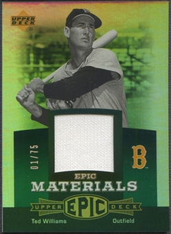 2006 Upper Deck Epic #TW1 Ted Williams Materials Green Jersey #01/75