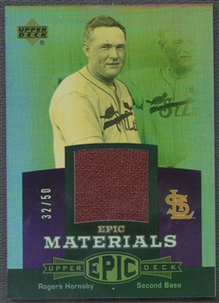 2006 Upper Deck Epic #RH Rogers Hornsby Materials Dark Purple Jacket #32/50
