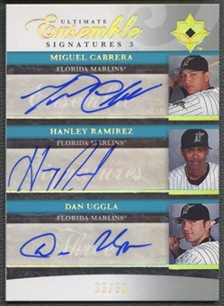 2006 Ultimate Collection #URC Miguel Cabrera, Hanley Ramirez, & Dan Uggla Ensemble Triple Auto #35/50