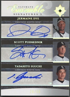 2006 Ultimate Collection #DPI Jermaine Dye, Scott Podsednik, & Tadahito Iguchi Ensemble Triple Auto #26/50