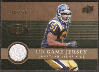 2008 Upper Deck Game Jerseys Gold #UDGJJV Jonathan Vilma /200