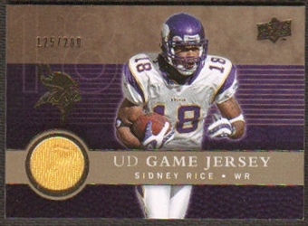 2008 Upper Deck Game Jerseys Gold #UDGJSR Sidney Rice /200