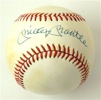 Mickey Mantle Autographed New York Yankees Official MLB Baseball (JSA)