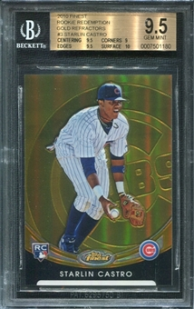 2010 Topps Finest Starlin Castro Rookie Redemption Gold Refractor /50 BGS 9.5 Gem Mint