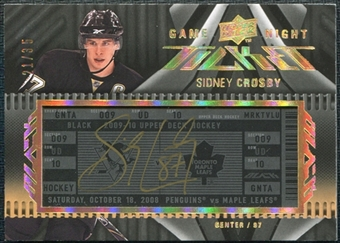 2009/10 Upper Deck Black Rare Sidney Crosby Game Night Ticket Autograph Hard signed