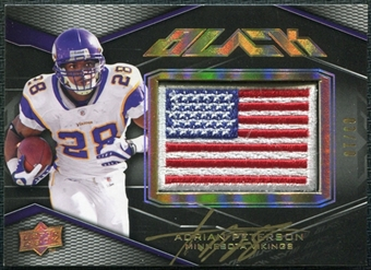 2009 Upper Deck Black Rare Adrian Peterson Gold USA flag Hard-Signed Serial # 3/10