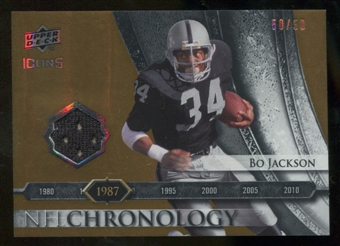 2008 Upper Deck Icons NFL Chronology Jersey Gold #CHR14 Bo Jackson /50