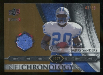 2008 Upper Deck Icons NFL Chronology Jersey Gold #CHR21 Barry Sanders /50