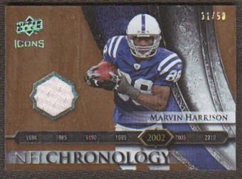 2008 Upper Deck Icons NFL Chronology Jersey Gold #CHR29 Marvin Harrison /50