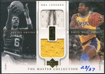 2000 Upper Deck Legends Master Collection Mystery Pack Inserts #DR/EJ Julius Erving Magic Johnson Jersey 28/37