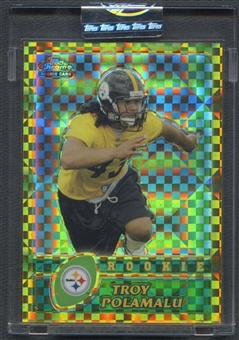 2003 Topps Chrome #274 Troy Polamalu Rookie Gold Xfractors #009/101