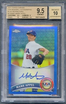2011 Topps Chrome USA Baseball #USABB1 Mark Appel Blue Refractor Auto #66/99 BGS 9.5