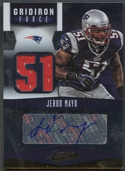 2012 Absolute #8 Jerod Mayo Gridiron Force Materials Jersey Auto #4/5
