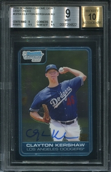 2006 Bowman Chrome Draft Draft Picks #84 Clayton Kershaw Auto RC BGS 9 Mint *4822