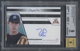 2006 TRISTAR Prospects Plus #27 Tim Lincecum Rookie Farm Hands Auto BGS 9