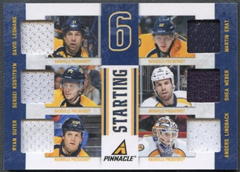 2011/12 Pinnacle #11 Legwand Erat Kostitsyn Weber Suter Lindback Starting Six Jersey