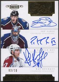 2011/12 Dominion #2 Joe Sakic, Patrick Roy, & Ray Bourque Pen Pals Triples Auto #03/10
