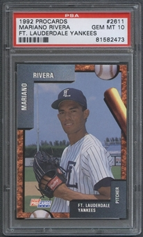 1992 Fort Lauderdale Yankees Fleer ProCards #2611 Mariano Rivera Rookie PSA 10