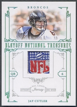 2008 Playoff National Treasures #21 Jay Cutler Material Prime NFL Logo Patch #1/1