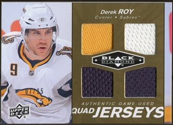 2010/11 Upper Deck Black Diamond Jerseys Quad Gold #QJDR Derek Roy 7/25