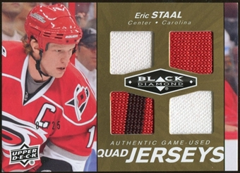 2010/11 Upper Deck Black Diamond Jerseys Quad Gold #QJES Eric Staal 7/25