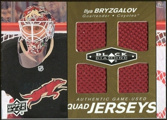 2010/11 Upper Deck Black Diamond Jerseys Quad Gold #QJIB Ilya Bryzgalov 6/25