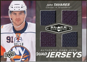 2010/11 Upper Deck Black Diamond Jerseys Quad Onyx #QJJT John Tavares 9/10