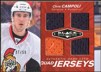 2010/11 Upper Deck Black Diamond Jerseys Quad Ruby #QJCC Chris Campoli /50