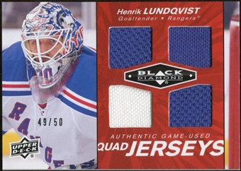 2010/11 Upper Deck Black Diamond Jerseys Quad Ruby #QJHL Henrik Lundqvist 49/50
