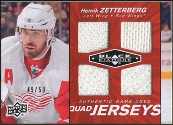 2010/11 Upper Deck Black Diamond Jerseys Quad Ruby #QJHZ Henrik Zetterberg 49/50