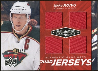 2010/11 Upper Deck Black Diamond Jerseys Quad Ruby #QJMK Mikko Koivu /50