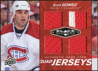 2010/11 Upper Deck Black Diamond Jerseys Quad Ruby #QJSG Scott Gomez /50