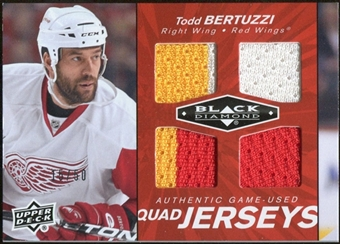 2010/11 Upper Deck Black Diamond Jerseys Quad Ruby #QJTB Todd Bertuzzi /50
