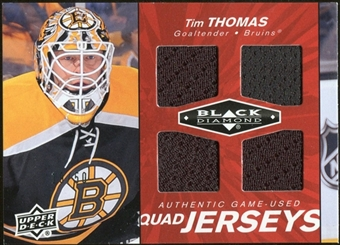 2010/11 Upper Deck Black Diamond Jerseys Quad Ruby #QJTT Tim Thomas /50