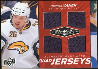 2010/11 Upper Deck Black Diamond Jerseys Quad Ruby #QJTV Thomas Vanek 15/50