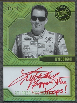 "2011 Press Pass #PPSKyB Kyle Busch Signings Black and White Auto #04/10 ""Support The Troops"""
