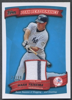 2010 Topps #MT Mark Teixeira Peak Performance Relics Blue Jersey #27/99