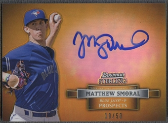 2012 Bowman Sterling Prospect #MSM Matthew Smoral Rookie Gold Refractor Auto #19/50