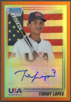 2010 Bowman Chrome Draft #USAA11 Timmy Lopes Rookie USA Baseball Orange Refractor Auto #25/25