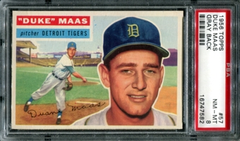 1956 Topps Baseball #57 Duke Maas PSA 8 (NM-MT) *7582