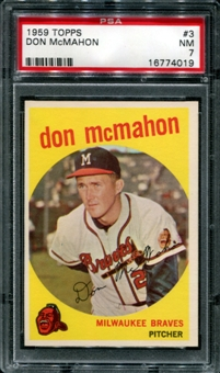 1959 Topps Baseball #3 Don McMahon PSA 7 (NM) *4019