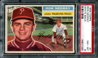 1956 Topps Baseball #7 Ron Negray PSA 8 (NM-MT) *7395