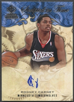2008/09 Upper Deck SP Rookie Threads #SITRC Rodney Carney Scripted in Time Auto