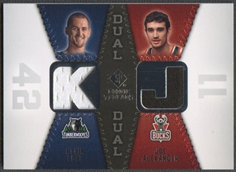2008/09 SP Rookie Threads #RTDAL Kevin Love Joe Alexander Rookie Threads Dual Jersey
