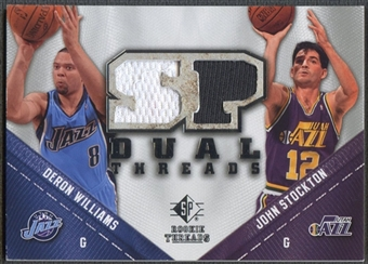 2008/09 Upper Deck SP Rookie Threads #TDWS Deron Williams John Stockton SP Threads Dual Jersey