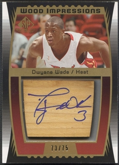 2004/05 SP Game Used #DW Dwyane Wade Wood Impressions Floor Auto #73/75
