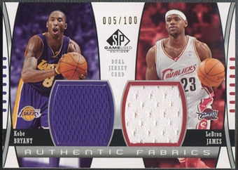 2004/05 SP Game Used #BJ Kobe Bryant & LeBron James Authentic Fabrics Dual Jersey #005/100
