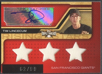 2008 Topps Triple Threads #172 Tim Lincecum Jersey Auto #62/99