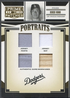 2005 Prime Patches #73 Hideo Nomo Portraits Quad Swatch Jersey Pants Bat #071/150